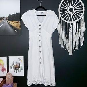 Boho White Linen Button Down Midi Dress
